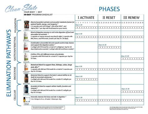 Doterra Detox 30 Day Calendar by Living My Essential Cleanse It Real 30 Day