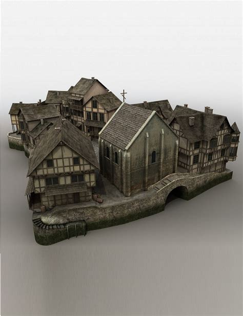 House Style Types medieval fantasy village 3d models and 3d software by daz 3d