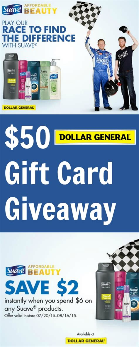 Dollar General Gift Cards - 50 dollar general gift card giveaway save 2 on suave 174