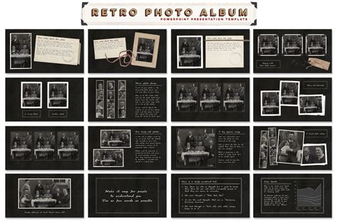 powerpoint themes photo album retro photo album ppt template presentation templates on