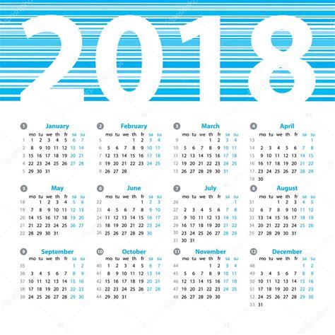 modello di disegno di vettore di anno di calendario 2018