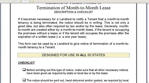 Rent Increase Letter For Month To Month notice of termination of month to month lease