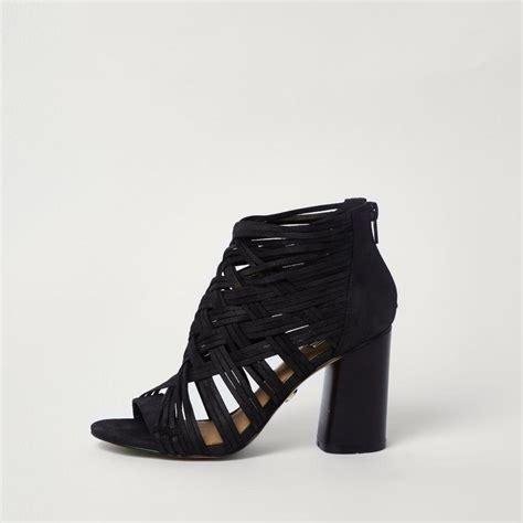 Block Heel Shoes lyst river island black lattice block heel shoe boots