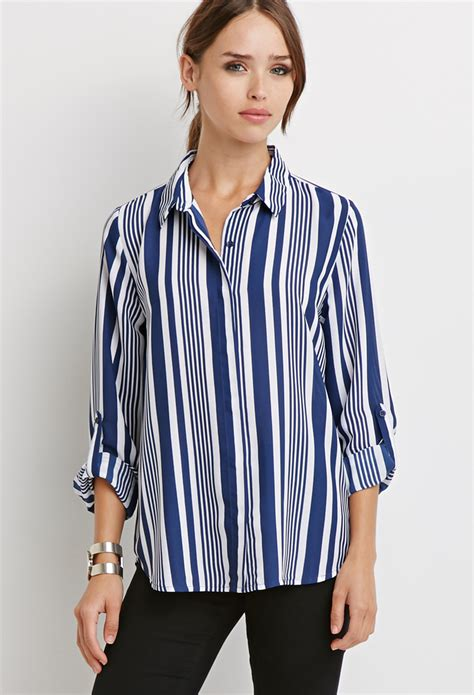 Striped Sleeve Chiffon Blouse lyst forever 21 striped chiffon blouse in blue