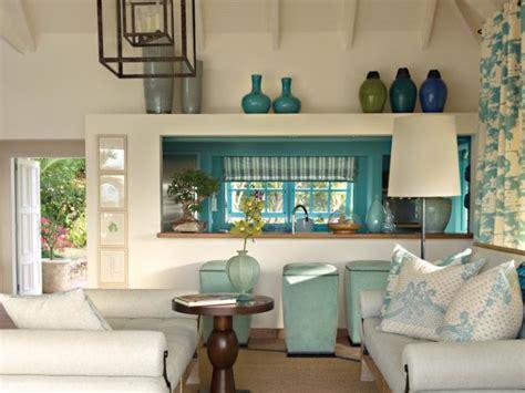 white living room  pass   blue kitchen hgtv
