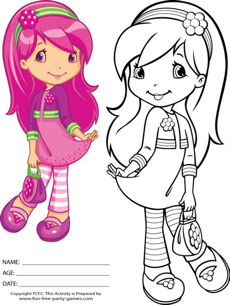 strawberry shortcake coloring page for kids cartoon