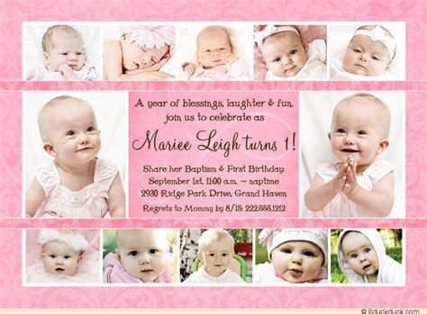 Photo Collage Girl Baptism Invitations Personalized Design 1st Birthday And Christening Invitation Templates