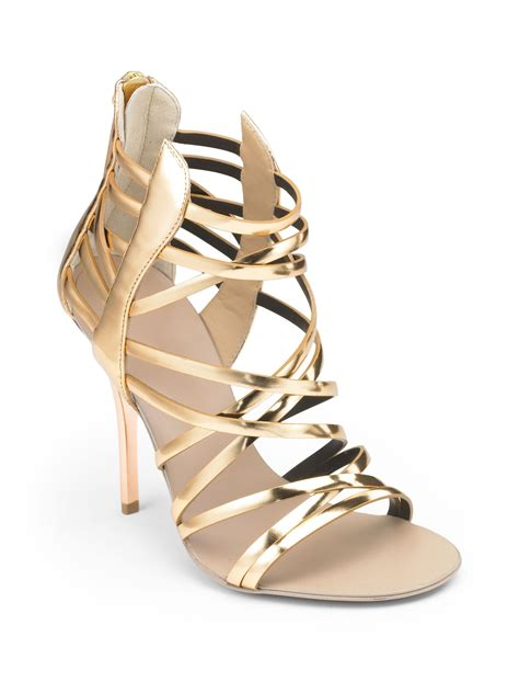 Sandal Karet S35 12 giuseppe zanotti strappy metallic sandals in gold lyst