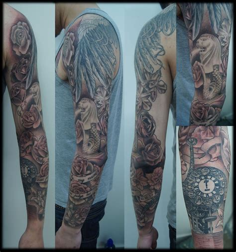 full rose tattoo custom black and grey sleeve roses japan merlion