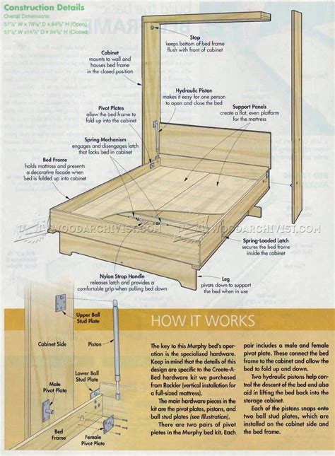 bed designs plans murphy bed plans woodarchivist
