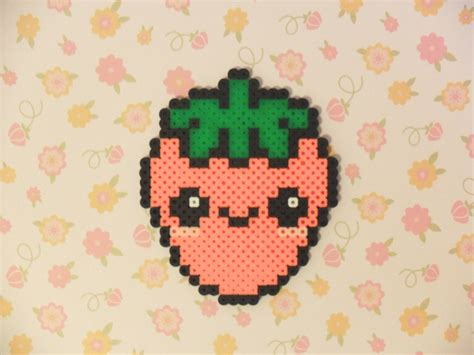 kawaii perler perler bead kawaii strawberry by kawaiilittlepresents
