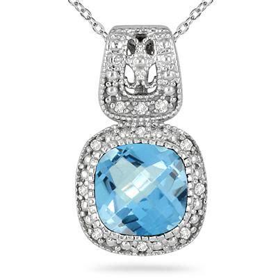 Blue Topaz 1 48 Carat 1 50 carat and blue topaz pendant in 925 sterling
