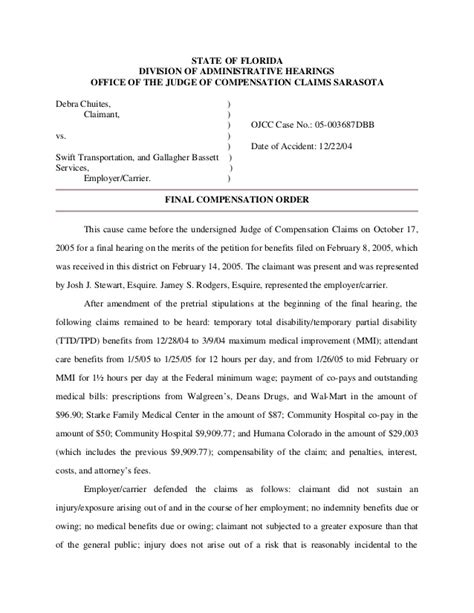 Florida Division Of Administrative Hearings Search Chuites V Transportation And Gallagher And Bassett Services