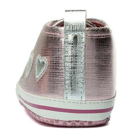 Prewalker Baby Renda Pink baby pink lace up crib shoes infant toddler prewalker sneakers ebay
