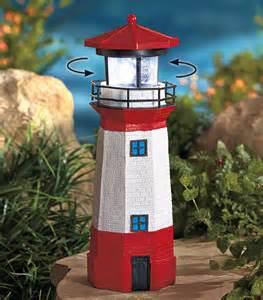 solar lighthouse statue w rotating light patio lawn garden