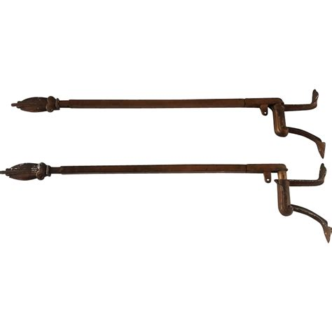 Art deco art nouveau swing arm curtain rods with brackets from rubylane sold on ruby lane