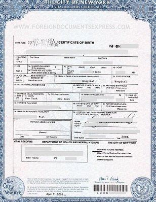 Ny Birth Records Nyc Birth Certificates For Foreign Use