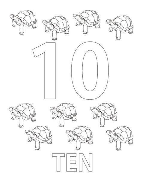 number 10 coloring sheet coloring pages