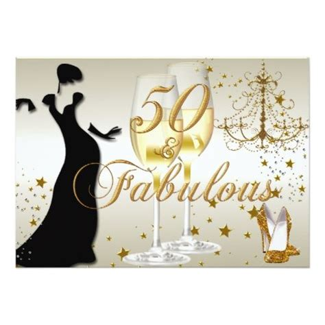 Be Fabulous 50 gold sparkle 50 fabulous birthday invitation in 2018