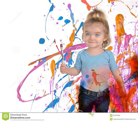 children s painting happy child painting on white stock photo image
