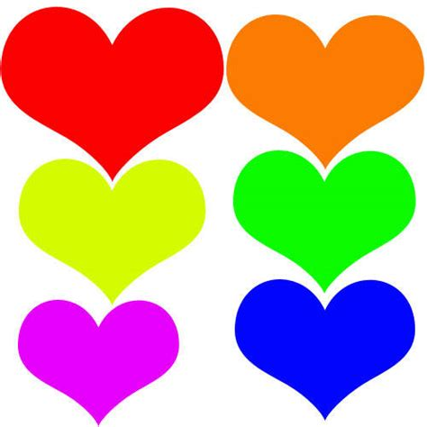colored hearts colored