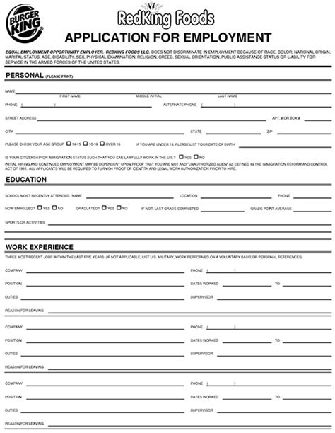 printable waffle house application burger king job applications whitneyport daily com