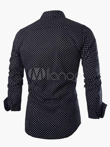 Shirt Collar Polka Ij cotton polka dot sleeves stand collar casual shirt for milanoo