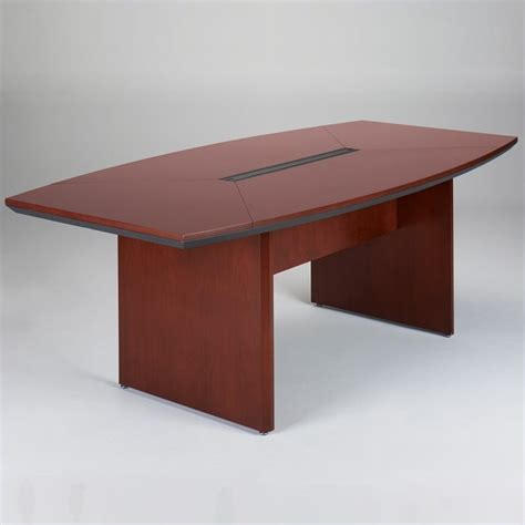 Boat Shaped Meeting Table Mayline Corsica 7 Boat Shaped Conference Table With Slab Base Ctc84