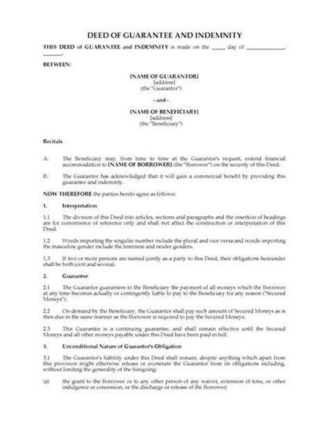 australia guarantee deed and indemnity legal forms and
