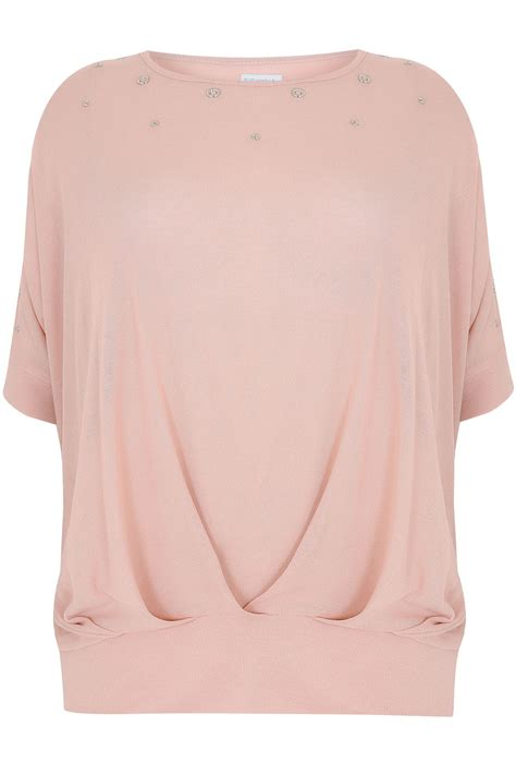 Top Dusty Pink blue vanilla curve dusty pink top with eyelet detail plus