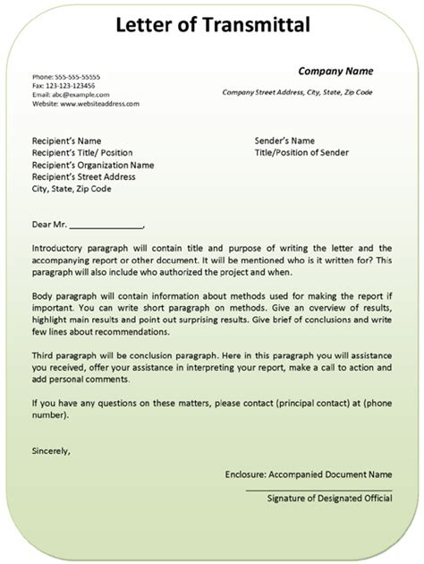 Transmittal Letter Business Letter Of Transmittal Exle Template Ms Office Templates