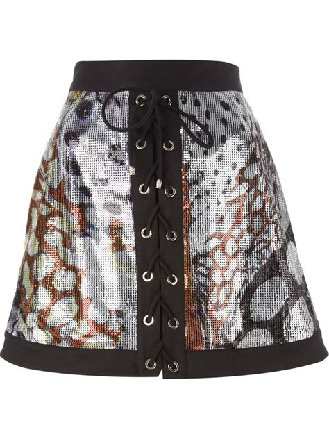 roberto cavalli sequin lace up a line skirt in black lyst