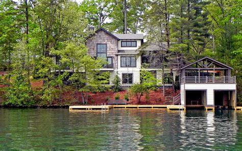 Homes Lake by Lake Burton Custom Homes Rustic Exterior Atlanta