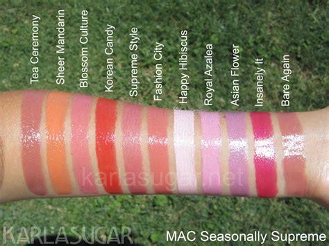 mac sheen supreme lipstick mac seasonally supreme swatches photos reviews