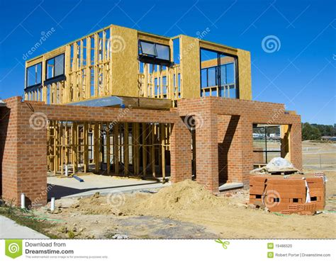 Cottage House Plans With Garage by Modern House Under Construction Stock Photo Image 19486520