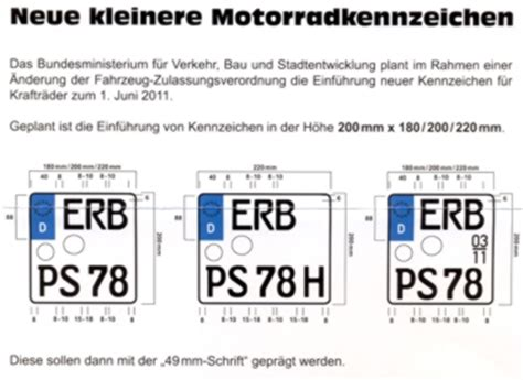 Polnisches Motorrad In Deutschland Zulassen by 180 200 220 X200 Motorradkennzeichen Neues Modell