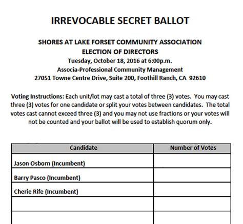 Lake Forest Shores The Hoa Board Election Process Hoa Board Election Ballot Template