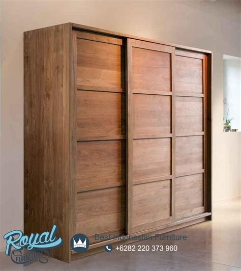 Lemari Pakaian Lemari Jepara Almari Pakaian Lemari Pintu 3 lemari pakaian 3 pintu sliding jati minimalis terbaru