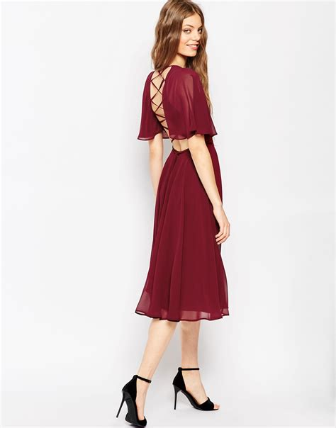 Asos Lace Back Courts by Asos Lace Up Back Kaftan Sleeve Midi Dress In Purple