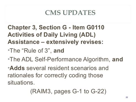 mds 3 0 section g atx34 quot mds 3 0 rai cms updates frequent coding issues