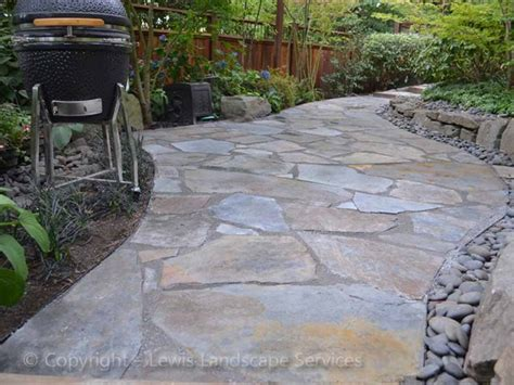 Flagstone Patio Set In Concrete Modern Patio Outdoor Slate Pavers For Patio
