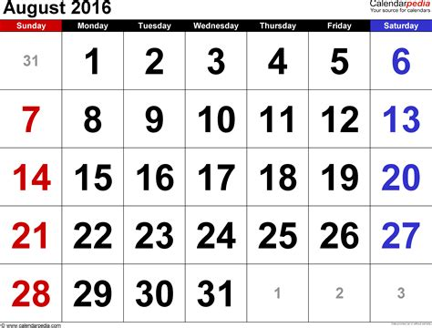 august 2016 calendars for word excel pdf august 2016 calendars for word excel pdf