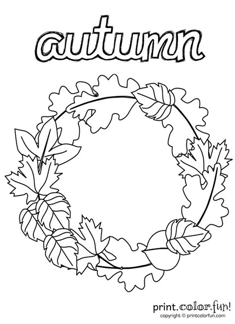 Autumn Wreath Coloring Page Print Color Fun Coloring Pages For Autumn