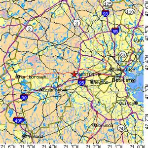 Waltham Zip Code Map by Weston Massachusetts Ma Population Data Races