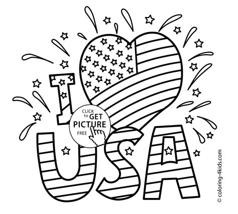 printable coloring page usa i love usa coloring pages july 4 independence day
