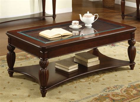 furniture of america beveled glass coffee table