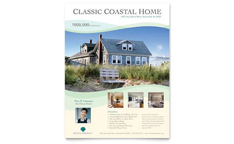 real homes template coastal real estate flyer template design