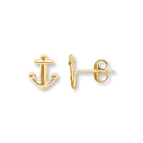 anchor earrings 14k yellow gold