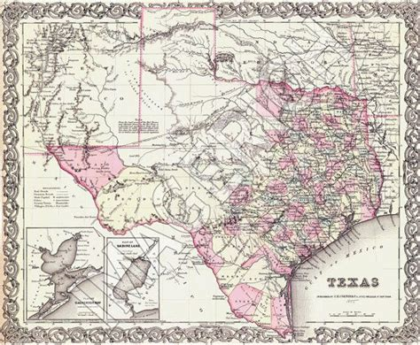 vintage texas maps vintage state map texas 1855