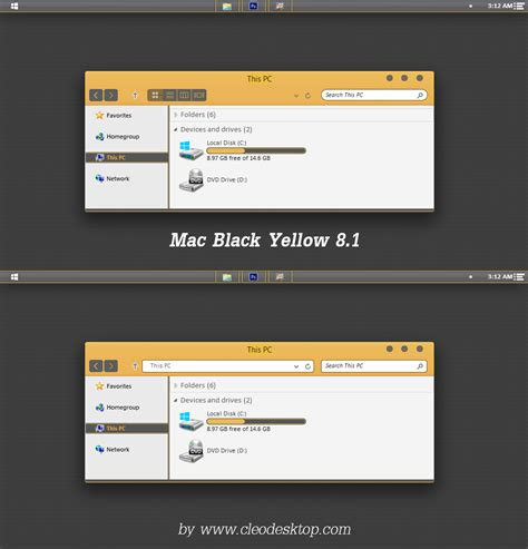 themes for windows 8 1 apple mac black yellow theme windows 8 1 by cleodesktop on